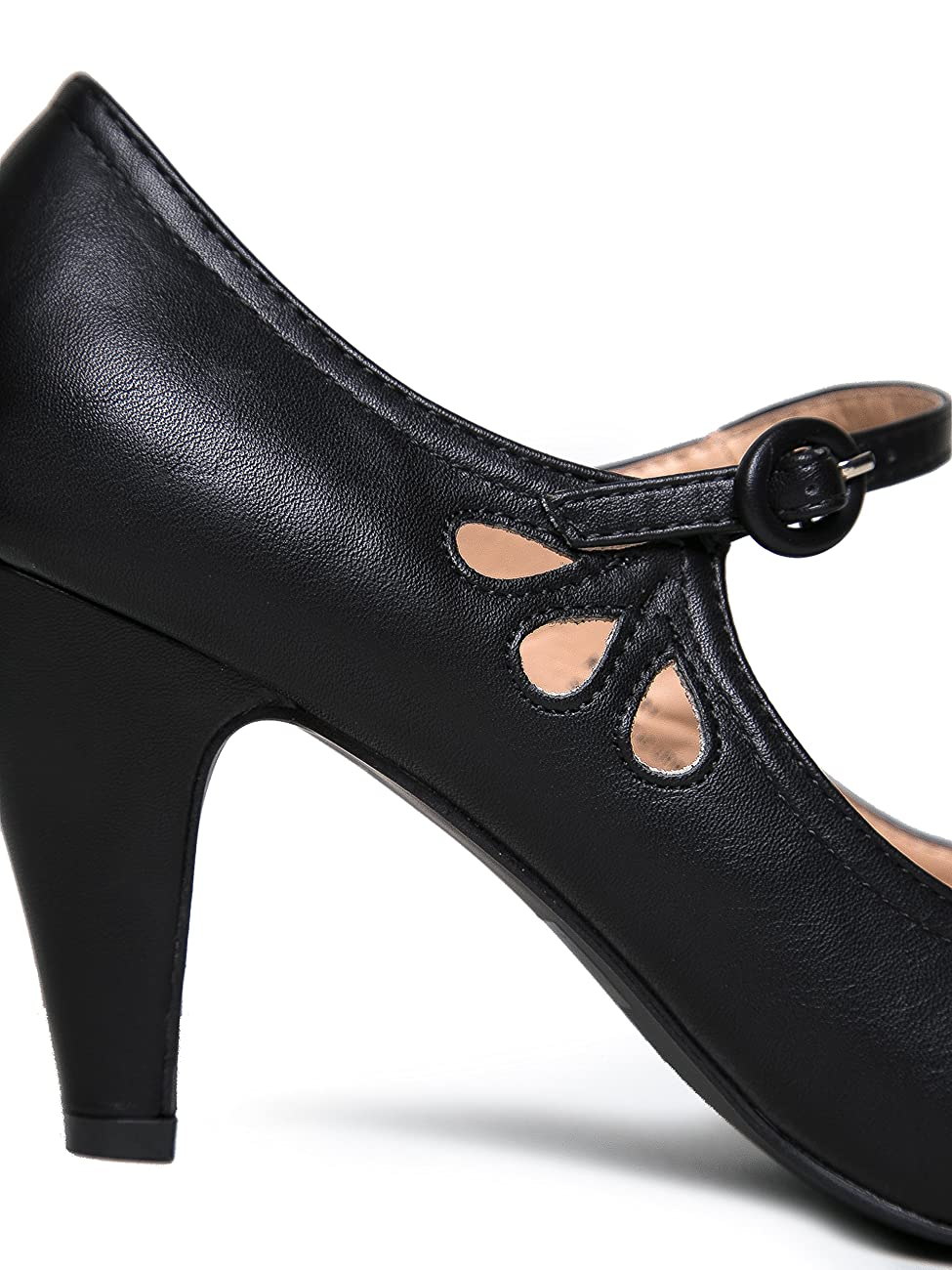 Kitten Heels Mary Jane Pumps By Zooshoo- Adorable Vintage Shoes- Unique Round Toe Design With An Adjustable Strap,Black Pu,5.5 B(M) US 3