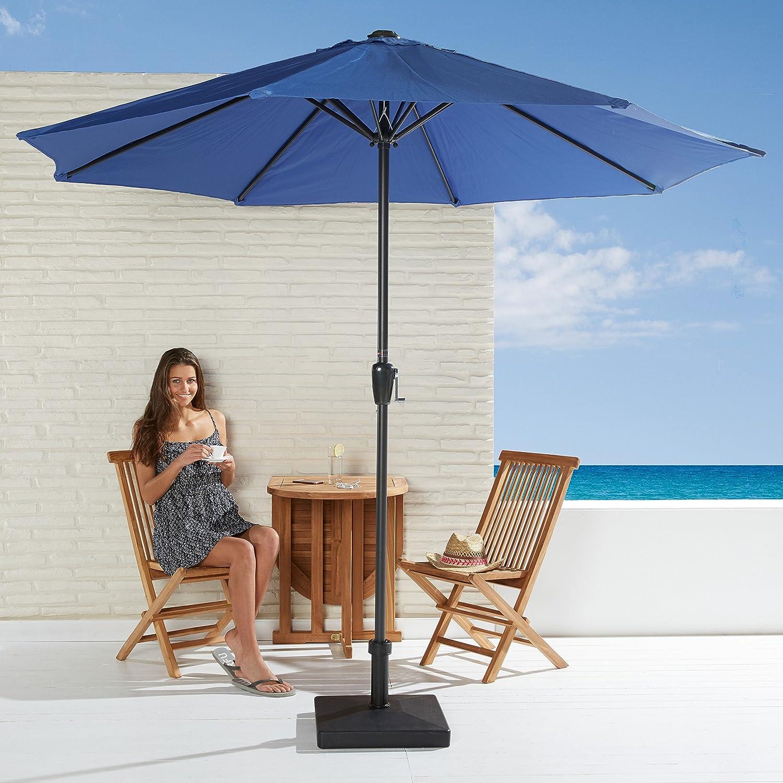 Sonnenschirm Set in nachtblau mit Kurbel zum zusammenrollen und Schirmfuß günstig kaufen