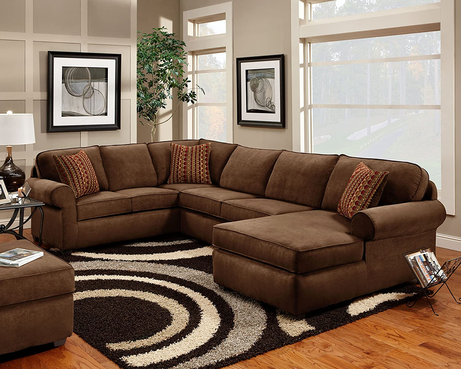 Chelsea Home Furniture Vera 3-Piece Sectional - Flatsuede Chocolate