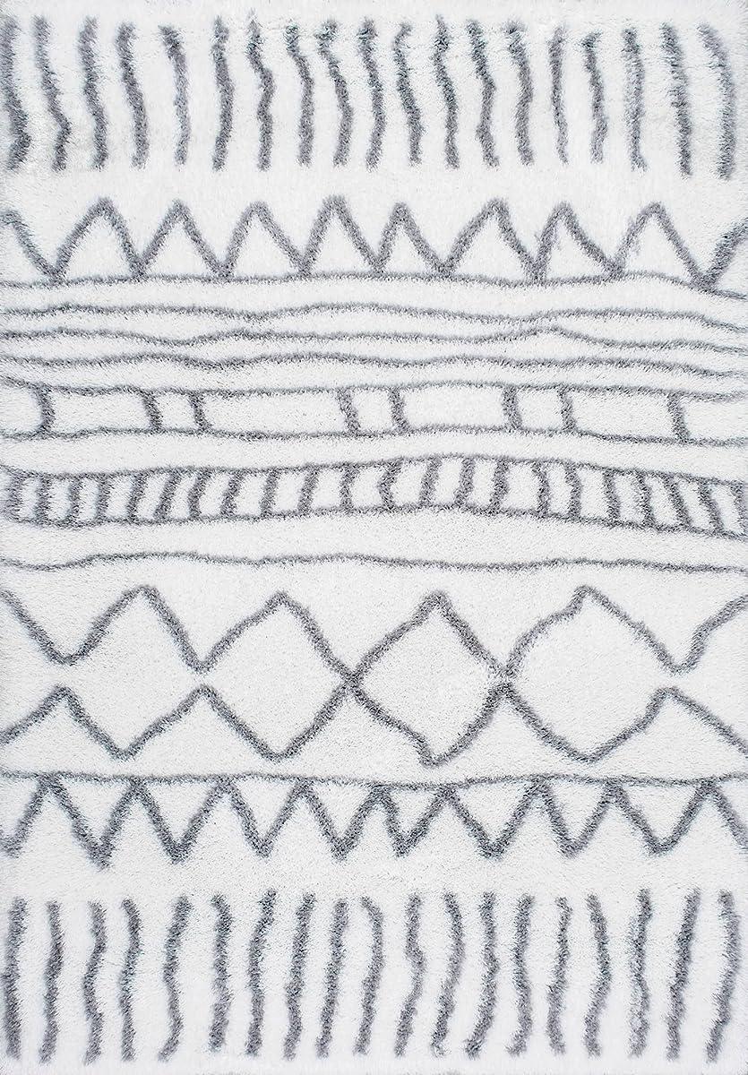 """nuLOOM OZAS04A Renata Moroccan Shag Rug, 9 2"""" x 12, Grey"""