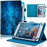 Universal Case for 6.5-7.5 inch Tablet, Dteck Slim Light PU Leather Protective Case with Card Slots Cute Cartoon Flip Stand Wallet Cover for All 6.5-7.5 inch iPad Android Windows Tablet,Green Forest (Color: #1 Green Forest, Tamaño: For 6.5-7.5 inch tablet)