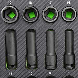 OEMTOOLS 23983 Master 42 Piece Impact Socket Set, 3/8 Drive | SAE & Metric Shallow & Deep Sockets for Auto Repairs | Comes with Custom Cut EVA Foam Organizing Tray for Tool Storage