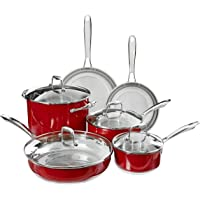 KitchenAid Stainless Steel 10-Piece Cookware Set (Empire Red)