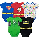 Warner Bros. Justice League Baby Boys' 5 Pack Superhero Onesies - Batman  Superman  The Flash and Green Lantern (6-9M) (Color: With All-over-print, Tamaño: 6-9 Months)