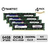 Timetec SUPERMICRO 64GB Kit (4x16GB) DDR3 1866MHz PC3-14900 Registered ECC 1.5V CL13 2Rx4 Dual Rank 240 Pin RDIMM Server Memory RAM Module Upgrade (64GB Kit (4x16GB)) (Tamaño: 64GB Kit (4x16GB))