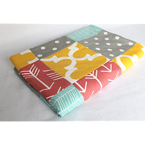 Aqua Coral Yellow and Gray Patchwork Blanket with White Minky Dimple Dot Backing - Ready to Ship