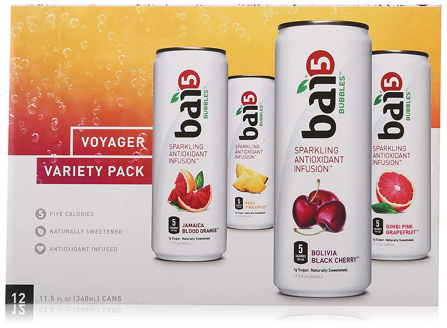 Bai Bubbles Variety Pack, 5-calorie, Naturally Sweetened, Antioxidant Infused Sparkling Beverage 11.5oz Can (Pack of 12)