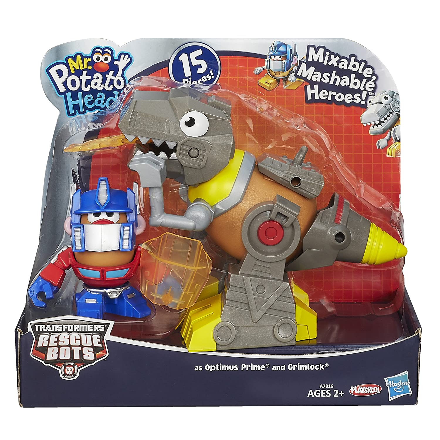 Playskool Mr. Potato Head Transformers Mixable Mashable Heroes as Optimus Prime and Grimlock Figures, 2-Inch