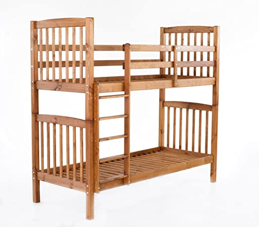 Ambientehome Bunk Bed Sweden Solid Wood Carving Brown 213x98,5x190 cm Very Stable. Can be used as 2 single beds.