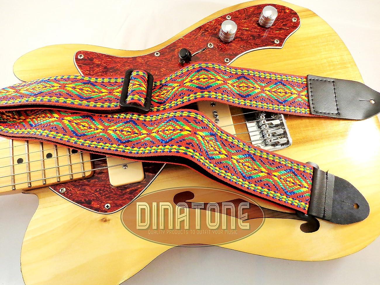 Red Retro Vintage Hippie Acoustic Electric Guitar Strap Faux Leather Ends 60's 2