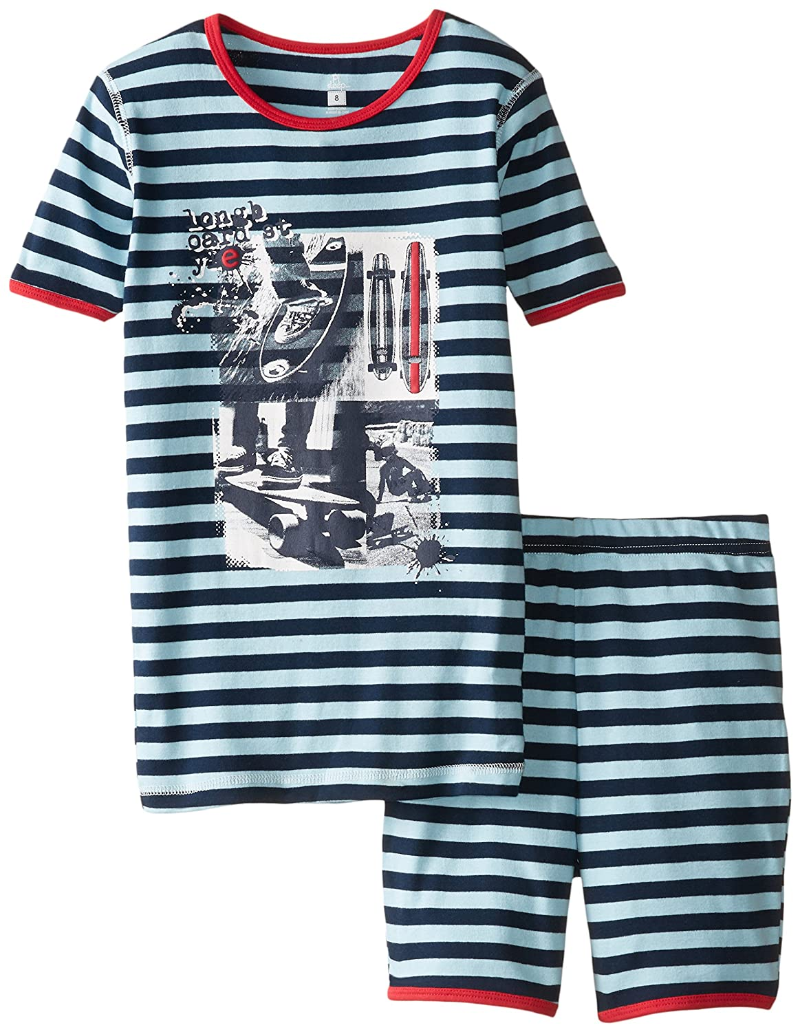Petit Lem Big Boys' Long Board Short Sleeve Striped Pajamas