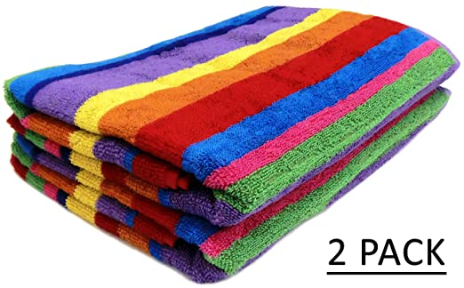 Cotton Craft - Jacquard Double Woven Velour Beach Towel 32x63 2 Pack, Summer of Siam Multi Stripe, Thick Plush Luxurious Velour Pile, 450 GSM, 100% Pure Ringspun Cotton, Brilliant Vibrant Colors