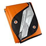 UST Survival Blanket/Tarp 2.0 with Windproof and Waterproof Material for Emergency, Camping, Hiking and Outdoors (Color: Orange, Tamaño: 1)