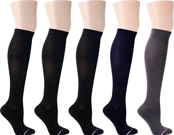 Dr. Motion Women's Half-Cushion Compression Socks 5 Pairs (Assorted) (Color: Assorted, Tamaño: 9-11)