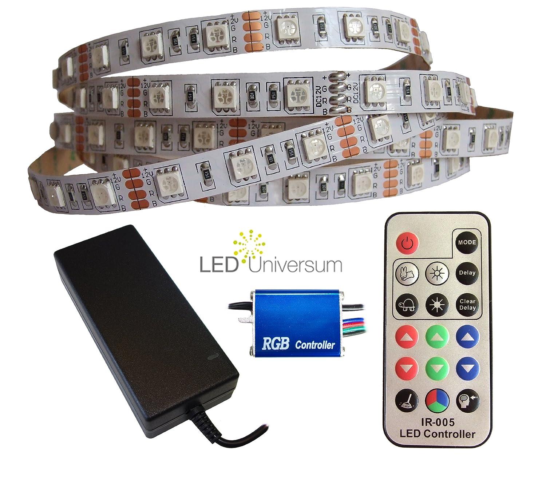 6 Meter RGB LED Streifen Set (60 LED/m, IP20) inkl. Controller, 17 Tasten Fernbedienung und 10 A Netzteil jetzt bestellen