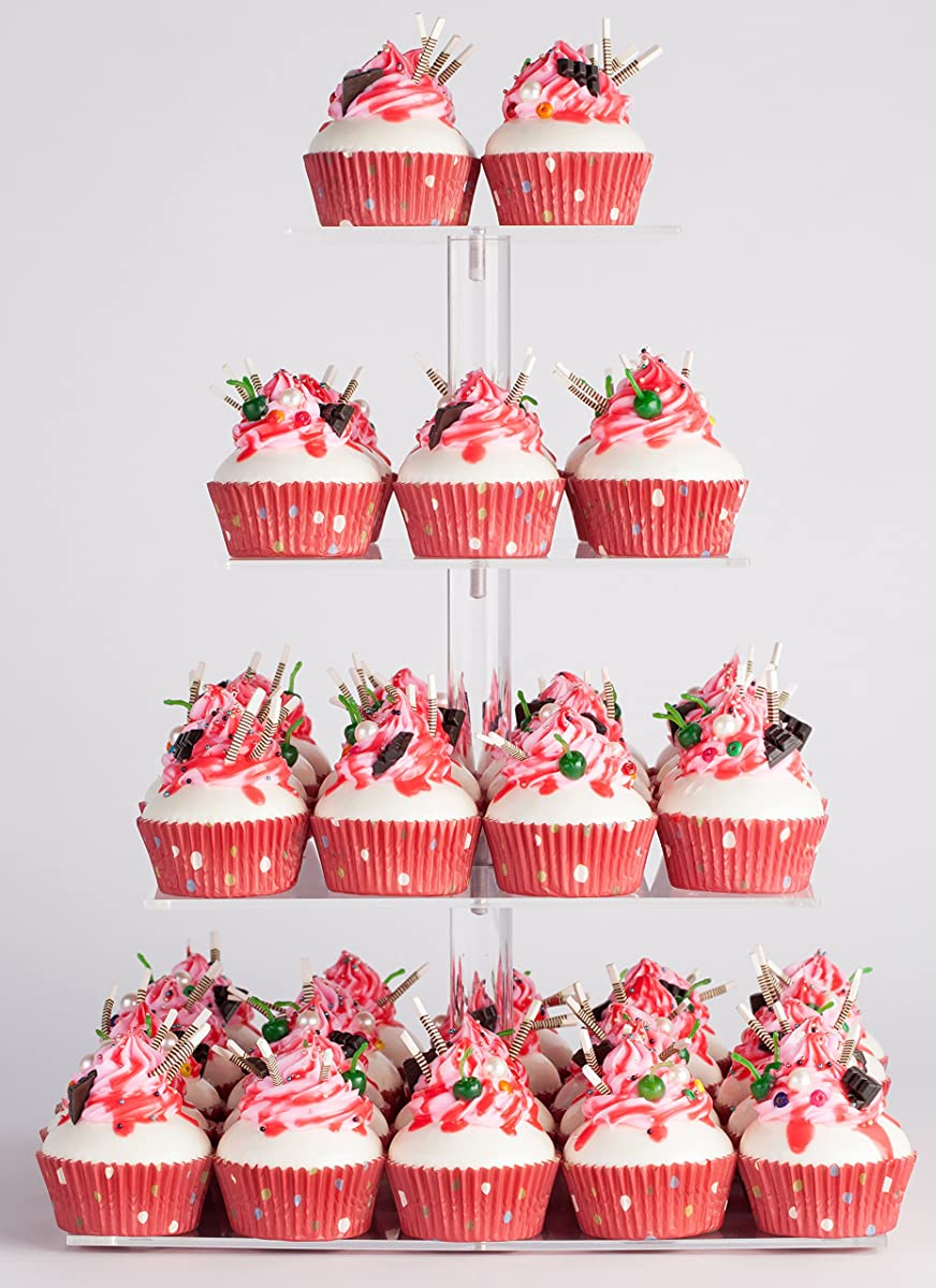 YestBuy 4 Tier Maypole Square Wedding Party Tree Tower Acrylic Cupcake Display Stand (15.1 Inches)-