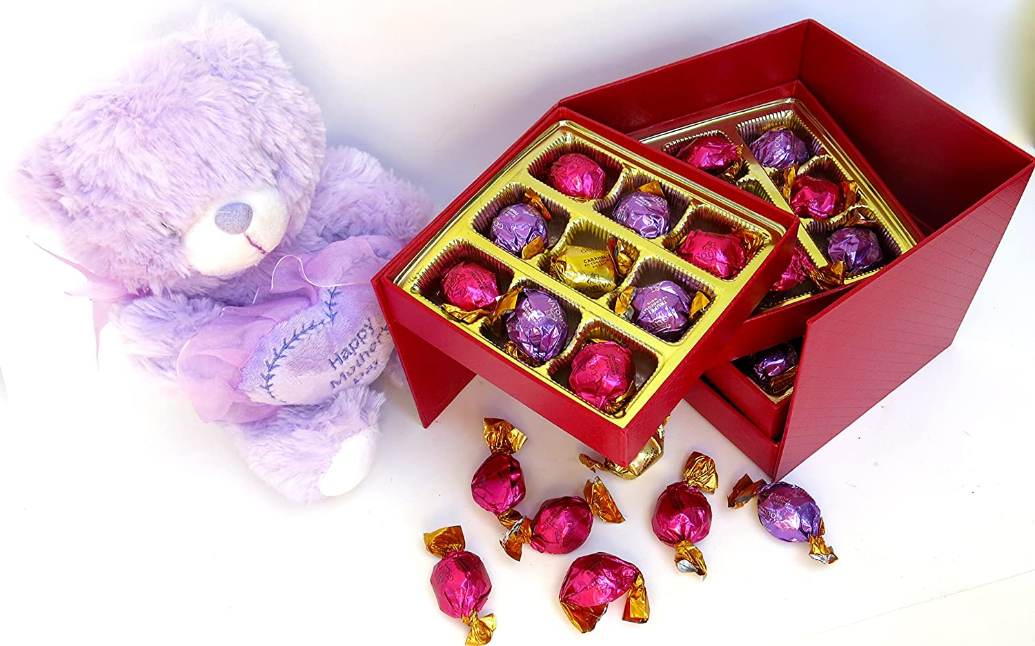 Mothers Day Gift, Alternative, Multi Tier, Four Level Gift Box Filled with 36 Premium Assorted Godiva Dessert Truffles, Chocolate Lava Cake, Strawberry Cheesecake, Creme Brûlée and Vanilla and a Plush Teddy Bear
