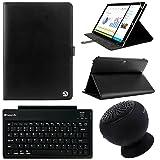 VanGoddy Arthur 12.2-inch Tablet Portfolio Case for Samsung Galaxy Note Pro & Tab Pro with Black Bluetooth Speaker & Wireless Keyboard (Black)