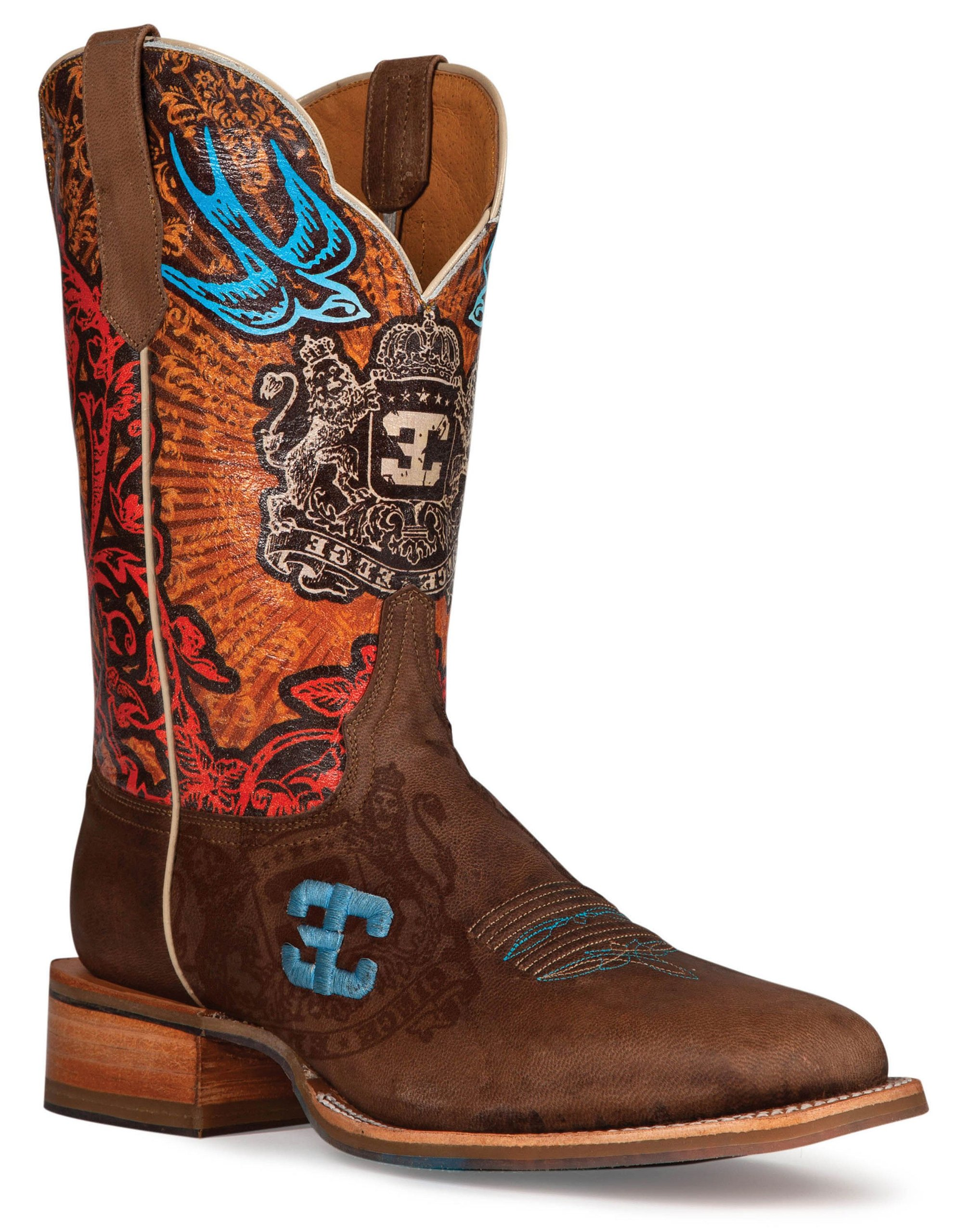 Cinch Men's Edge Blue Bird Cowboy Boot Square Toe