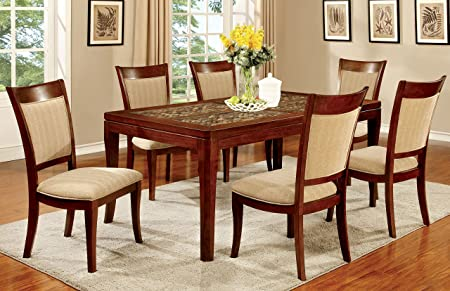 Furniture of America Malia 7-Piece Transitional Dining Set, Dark Oak