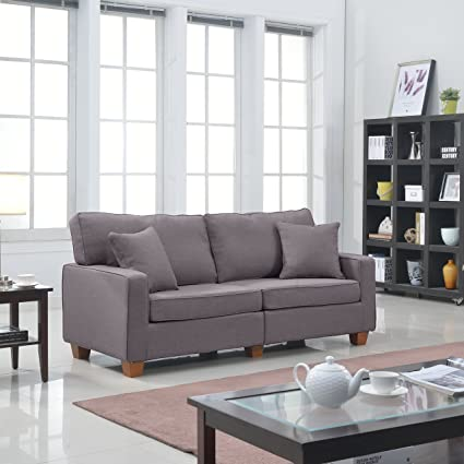 Modern 73-inch Soft Linen Fabric Love Seat in Colors Beige, Brown, Light Grey and Dark Grey (Light Grey)