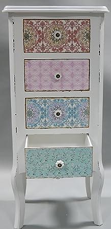 Cómoda con cuatro cajones y armario de madera de colour blanco con diseño de shabby chic de registro, New