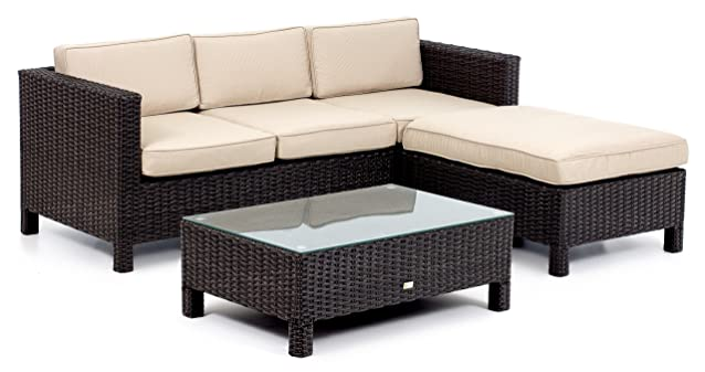 My_Garden M0857-22 Set Malaga Lounge Caffè, 190x154x73 cm, Marrone