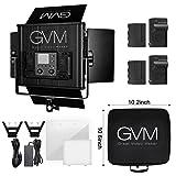 GVM LED Video Light 672S CRI97+ TLCI97 Dimmable Bi-color 3200K-5600K Panel Light For Outdoor Interview Studio Portrait Photography Lighting( Light+ 2 Batteries)
