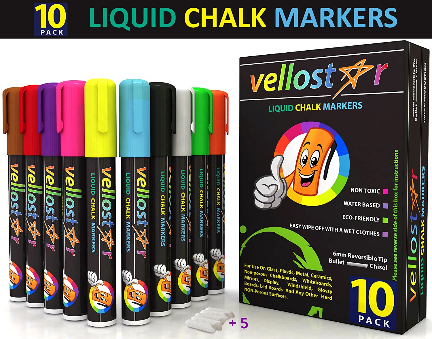 Vellostar Liquid Chalk Markers, Premium Quality, 10-pack, 5 Extra Tips, Child Safe and Non-toxic, 6mm Reversible Tip, Great to Paint on Glass and Non-porous Surfaces, Perfect Gift