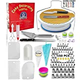 Cake Decorating Supplies - (150 PCS CAKE DECORATING KIT) With Numbered Icing Tips, Tips Chart, Cake Rotating Turntable and More. Create AMAZING Cakes w/this cake set! (Tamaño: 150 Pieces Set)