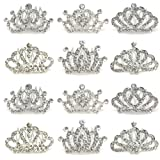 Elesa Miracle 12pc Accessories Rhinestone Tiara Crown Comb Value Set, Princess Flower Girl Wedding Party Favor Hair Jewelry, Silver (Color: Silver)