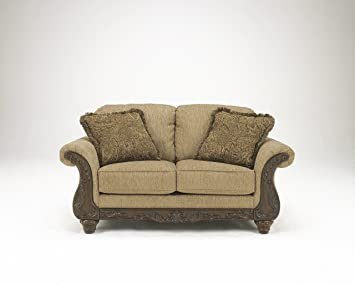 Cambridge Brown Traditional Classics Wood and Fabric Loveseat