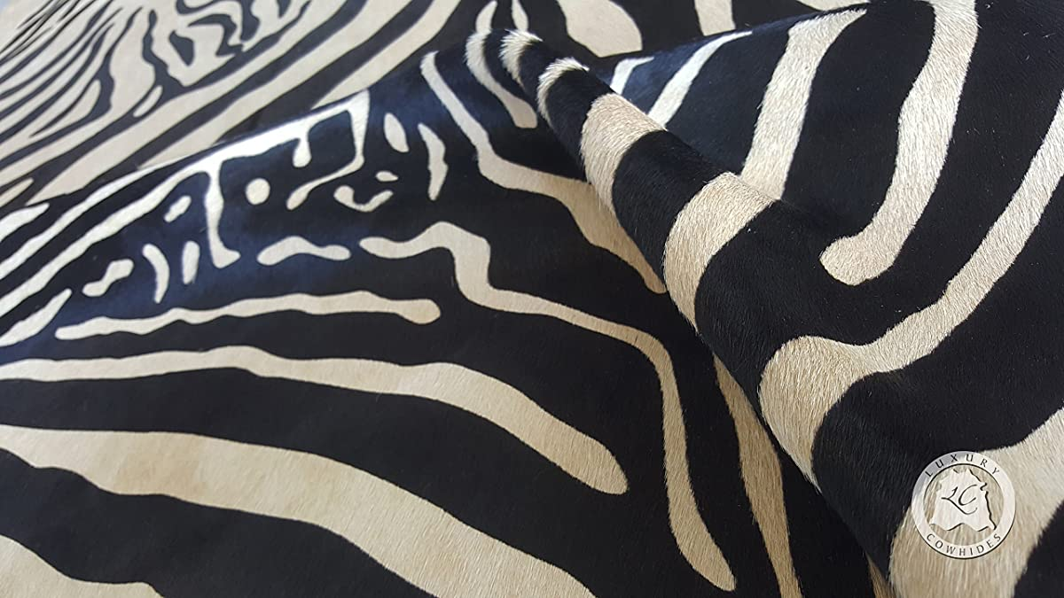 Zebra Cowhide Rug Animal Print Black Stripes On Beige - Top Quality