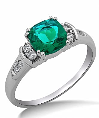 Miore 9ct White Gold Created Emerald and Diamond Ring SA9018R