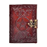 New Pentagram Leather Journal Geniune Handmade Pentacle Wicca Witch Craft Spell Book Celtic NoteBook & Blank Paper Dairy ( 7 Inch )