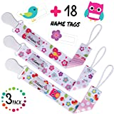 Pacifier Clip for Girls, Pack of 3 by Milanti + 18 Name Tags Labels, Premium Quality Fun Designs Universal Holder Leash for Pacifiers, Teething Toy or Soothie, Baby Shower Gift Set