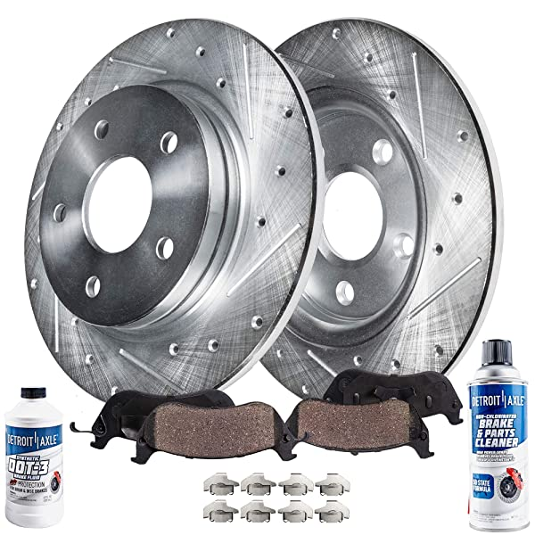 Front and Rear 4 Drilled Brake Rotors 8 Ceramic Pads for 98 Jeep Grand Cherokee