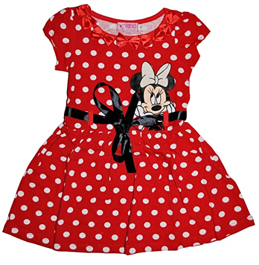 Girls-Red-Polker-Dot-Minnie-Mouse-Dress-Skirt-1-5y