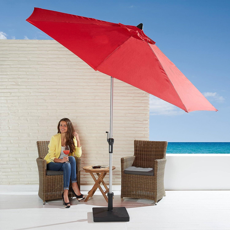 Sonnenschirm kippbar rot mit Kurbel 270cm Durchmesser Gartenschirm günstig online kaufen