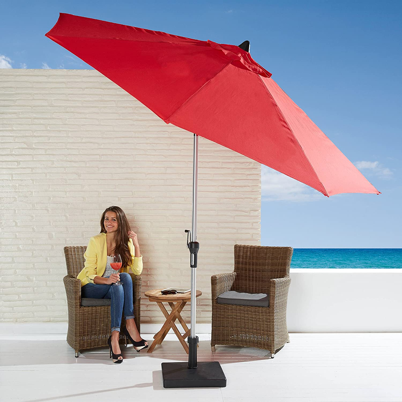 Sonnenschirm kippbar rot mit Kurbel 270cm Durchmesser Gartenschirm