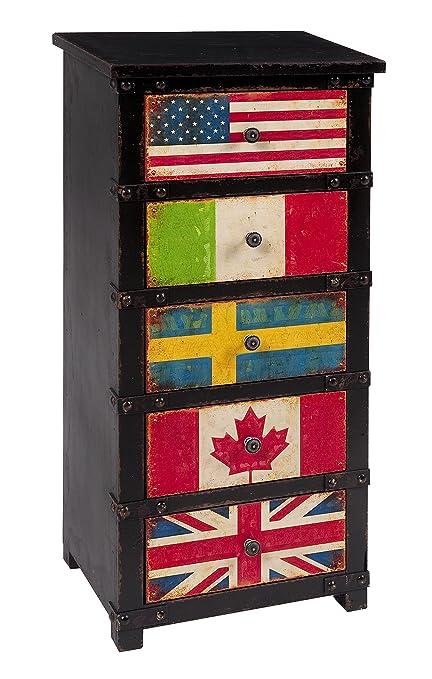 Mauro Ferretti Cassettiera Flag 5 Cassetti, 40 x 30 x 86 cm, MDF, Nero/Multicolore