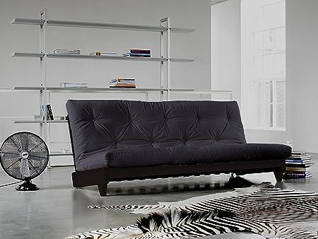 KARUP - FRESH, pratico divano e letto, futon grigio scuro su struttura in legno tinto wengè