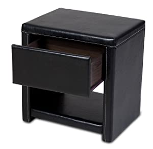 prado / pavia 2 x 1 drawer bedside cabinet in faux leather (black)       review
