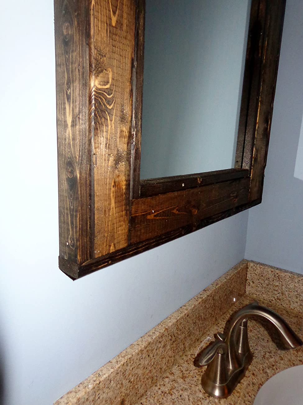 Bathroom Vanity Window Mirror - Reclaimed Wood Mirror - Large Wall Mirror - Rustic Modern Home - Home Decor - Mirror - Housewares - Woodwork	 1