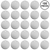 100 Pieces Aluminum Stamping Blanks by Craftbox. 1-Inch Round with Hole,12-Gauge (0.08