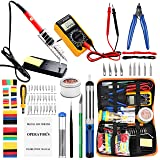 Soldering Irons with Digital Multimeter,Pancellent 60W Adjustable Temperature Welding Tool,328Pcs heat shrink tubing,30-in-1 Screwdrivers,5Pcs Soldering Iron Tips, Solder Sucker, Wire Cutter,Tweezers (Tamaño: Large)