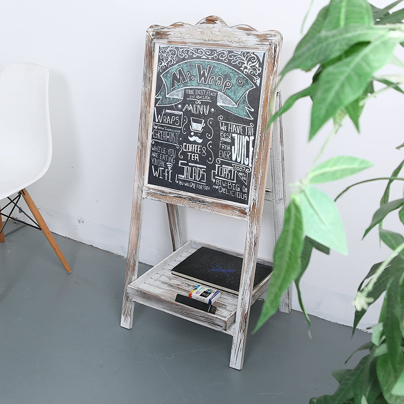 MyGift Vintage Style White Washed Brown Wood Chalk Board Easel / Freestanding Guest Message Sign Board 1