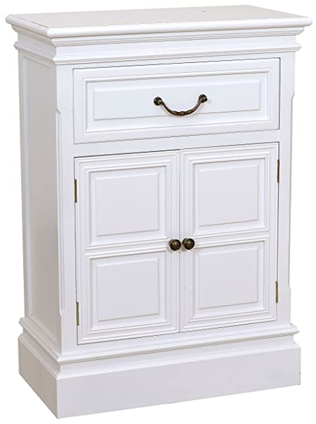 Cómoda con un cajón y dos de las puertas del armario de madera de colour blanco shabby chic