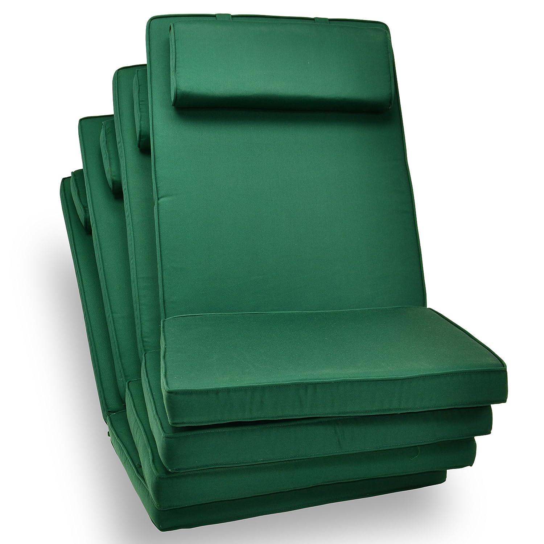 4-er Set Sitz-Auflagen Polster für Hochlehner Garten- und Klappstuhl Campingstühle Terrassenmöbel hochwertig bequem grün jetzt bestellen