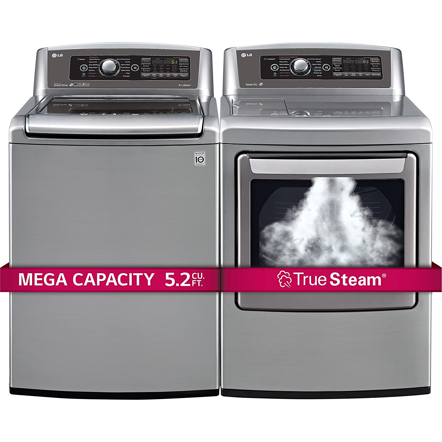 LG H/E Mega Capacity Top Load Laundry System with Turbo Wash Technology and Innovative Easy Load ELECTRIC Dryer (WT5680HVA_DLEX5780VE) *Graphite Steel*